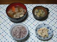 12/5 夕食 カキのレンジ蒸し、豚汁、こんにゃくの白和え、雑穀ごはん