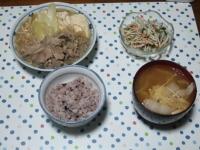 12/9 夕食 肉豆腐、ゴボウサラダ、白菜の味噌汁、雑穀ごはん