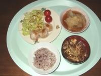 12/12 夕食 蟹シウマイ、白菜と桜えびの煮物、長ネギの味噌汁、雑穀ごはん