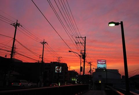 岸根交差点の夕焼け