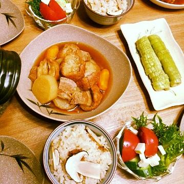 松茸ご飯の夕食