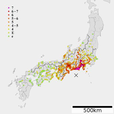 安政東海地震の震度分布