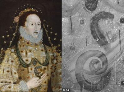 ※エリザベス1世の肖像画には、本当は蛇を持っている姿が隠されていた