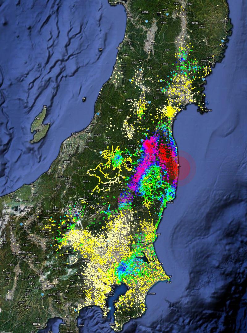 東日本の放射能汚染モニタリング地図