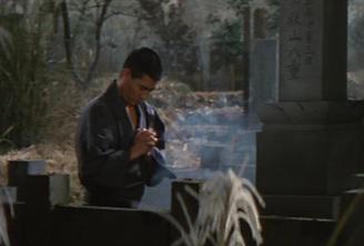 昭和残侠伝 唐獅子牡丹 墓前で祈る高倉健さん