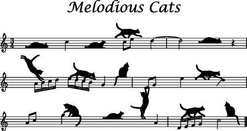 五線譜上のネコ(ネコ メロディ歩き)500px
