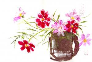 日本画風紙画 叔母の作品