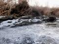 凍った川原