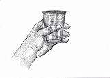 Nデッサンテキスト1基礎摸写見本画・コップを持つ手