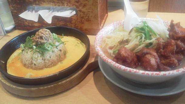 Aランチ から揚げタンメン チャーハン増量1166円
