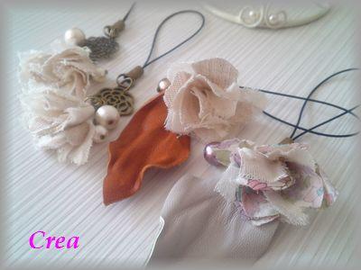 テ市革とお花のストラップ1