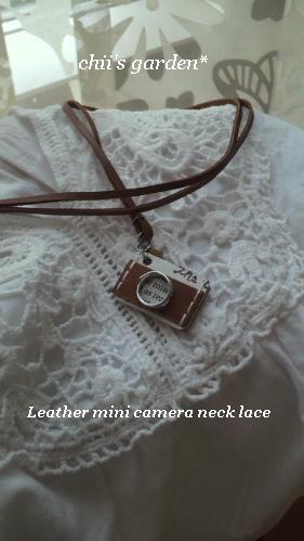 leather mini camera neck lace-2