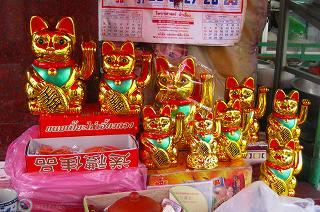 チャイナタウンの招き猫