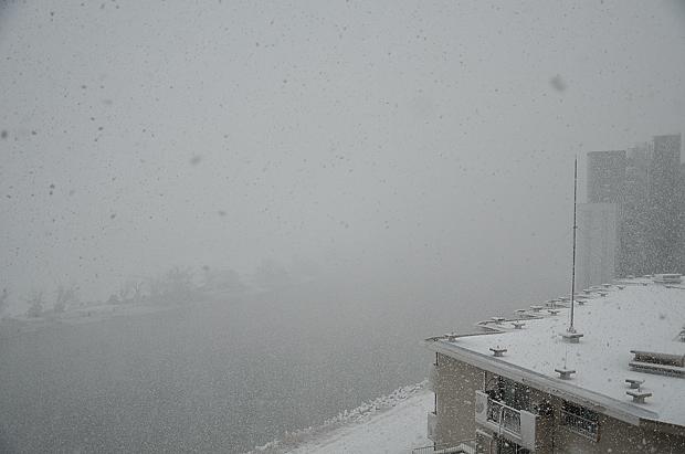 ①雪に煙る多摩川