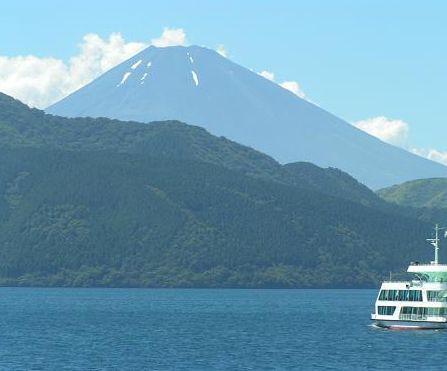 船から見た富士山