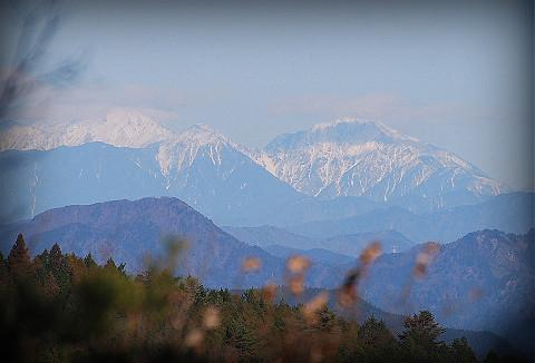 南アルプスの山々が