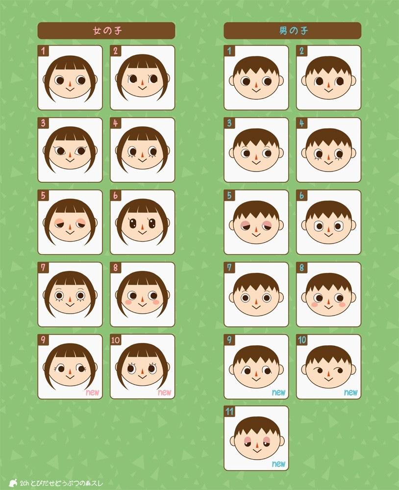 男女とも、9以降の顔はとび森から実装される顔である。 それ以前は、どうぶつの森の経験者ならお馴染み。