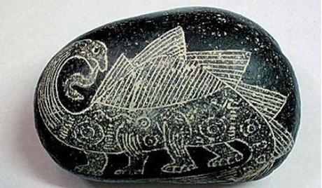 カブレラストーン ステゴザウルスのような背中のひれ状のものを持つディプロドクスの絵