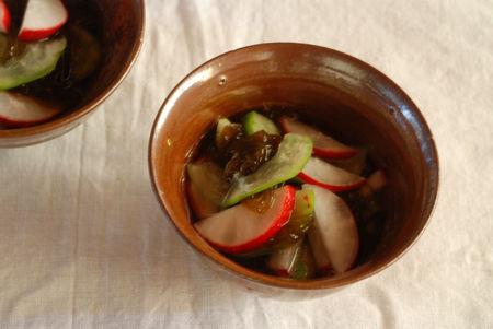 ラディシュともずくと白瓜の酢の物21