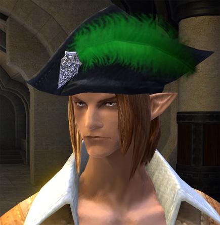 青い羽帽子