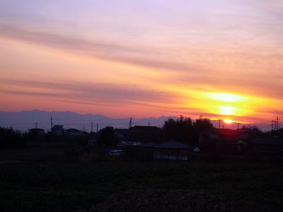 夕焼けと妙義山脈