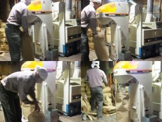 籾摺り機械にかけた後の作業