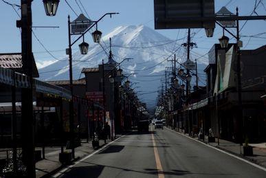 月江寺商店街と富士山
