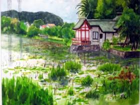 春の湖水池
