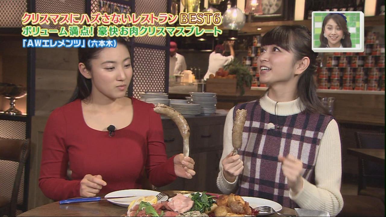 TBS「王様のブランチ」の食レポで大きいウインナーを食べる紗綾とリポーターの女の子