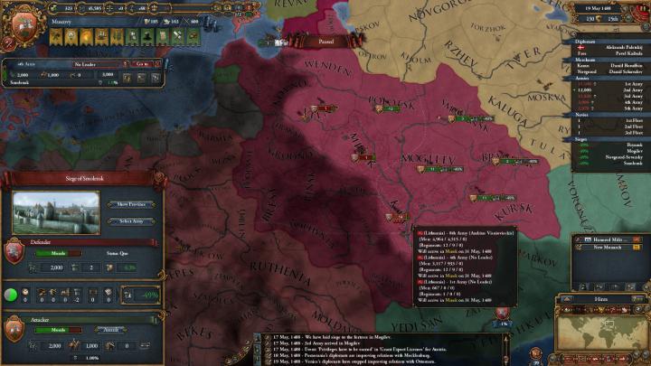 1488年、リトアニアに侵攻するモスクワ軍