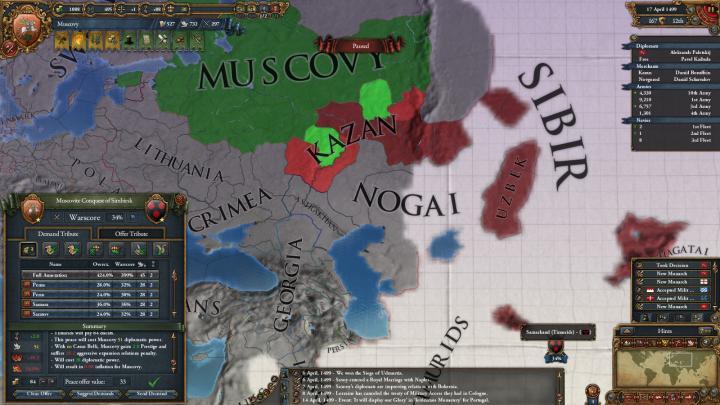 1499年、第1次カザン・ハン国遠征和平。ティムール朝の国土は見えない。