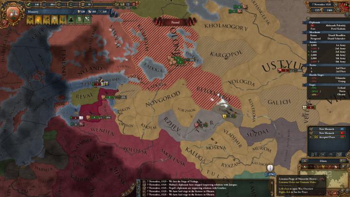 1525年、リヴォニア戦争。劣勢の大公国