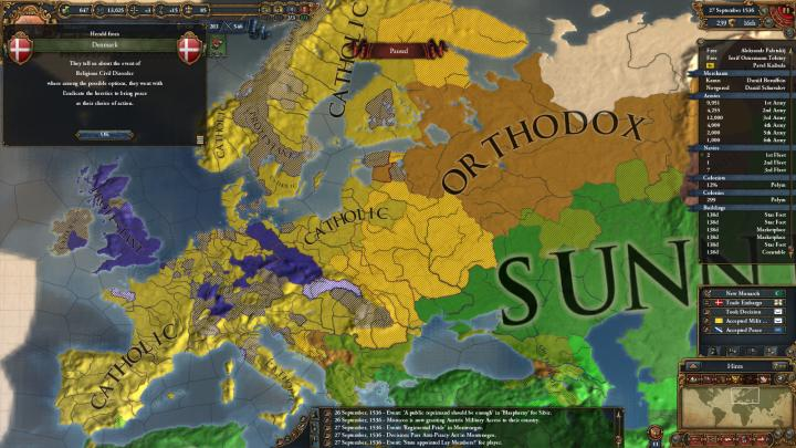 1536年、デンマークの宗教戦争と欧州の宗教分布