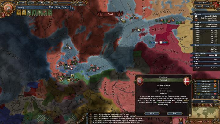 1546年、リトアニア-デンマーク戦争の終結
