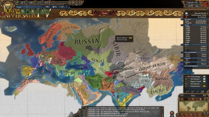 1552年、ロシア建国と当時のユーラシア大陸