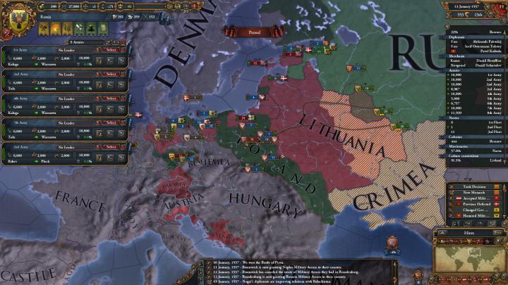 1557年1月、ポーランド-リトアニア戦争の外交関係