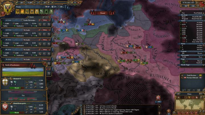 ポーランド-リトアニア戦争の推移(1557年11月)