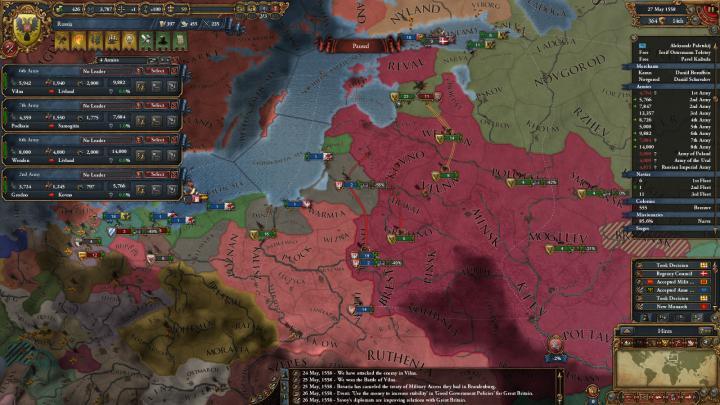 ポーランド-リトアニア戦争の推移(1558年5月)