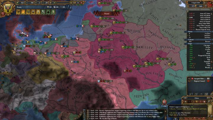 ポーランド-リトアニア戦争の推移(1559年4月)