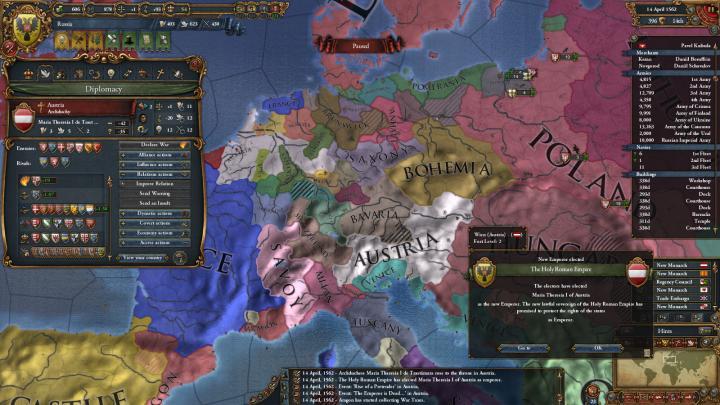 1562年、マリア・テレジアI世の帝国皇帝即位04-14