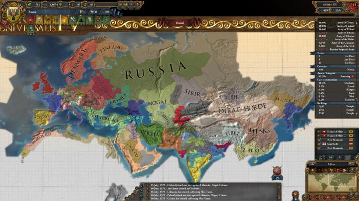 1575年のロシアとユーラシア大陸