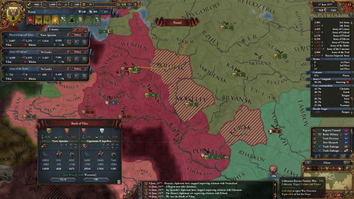 第4次リトアニア戦争の推移(1577年6月)