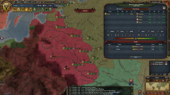 第5次リトアニア戦争の推移(1610年10月)