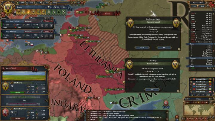 第5次リトアニア戦争の推移(1611年11月)