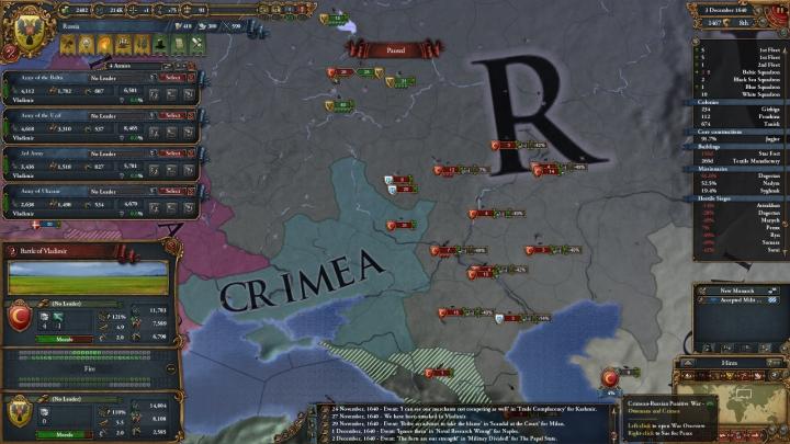 第2次露土戦争の推移(1640年12月)