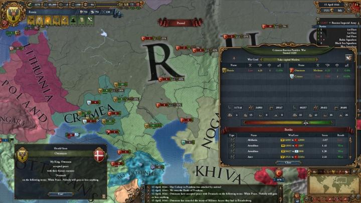 第2次露土戦争の推移(1644年4月)