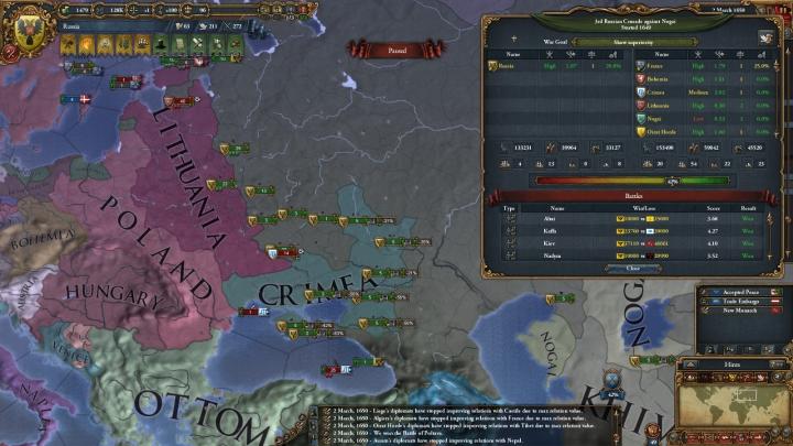 1650年3月、対露包囲網との戦い(リトアニア・クリミア戦争)