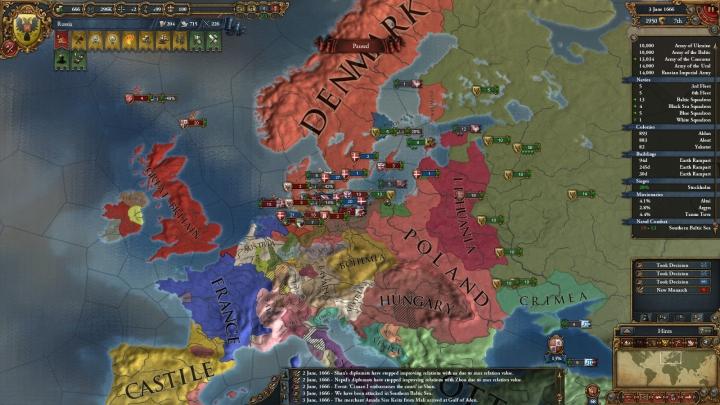 対露大包囲網との戦い推移(1666年6月)