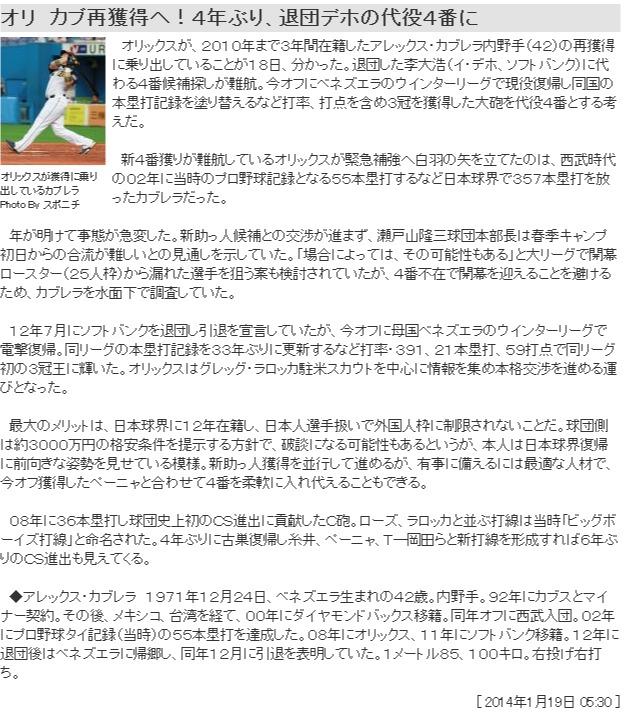 オリ カブ再獲得へ!4年ぶり、退団デホの代役4番に ― スポニチ Sponichi Annex 野球