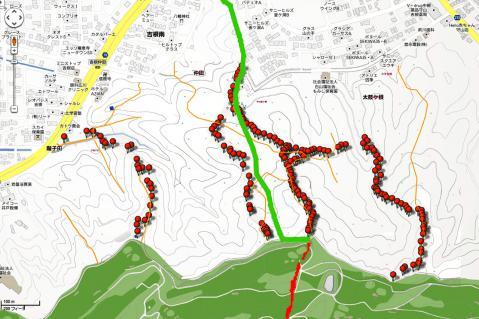 google-住宅地図-山道-ルート-赤線